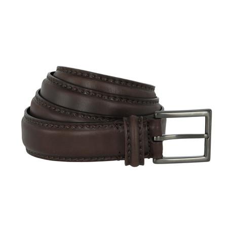Giorgio Armani // Distressed Leather Belt // Dark Brown (40)