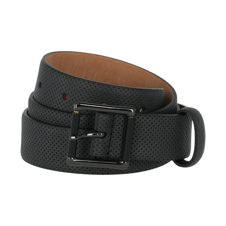 Armani Collezioni // Perforated Leather Belt // Black (40)