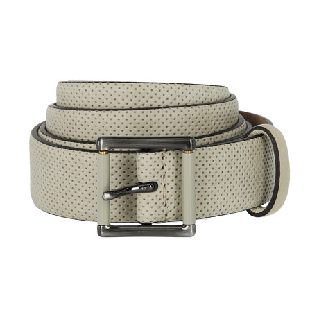 Armani Collezioni // Perforated Leather Belt // Beige (40)