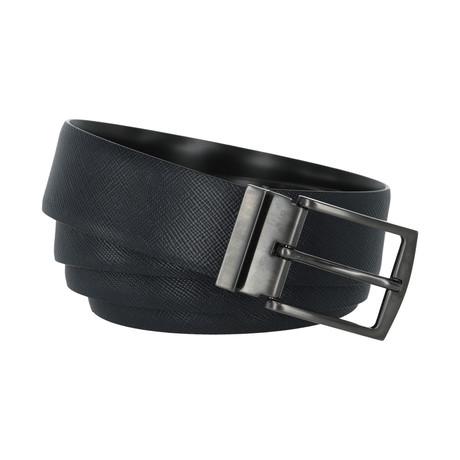 Giorgio Armani Textured Leather Belt // Black