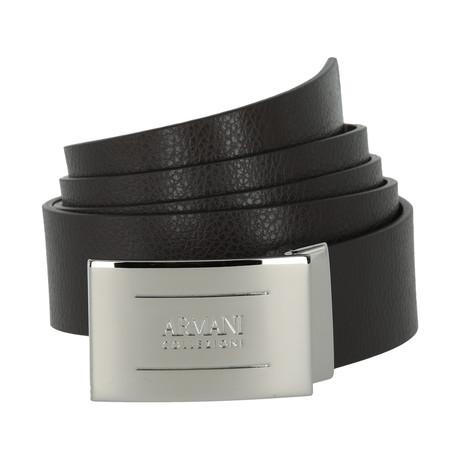 Armani Collezioni Pebble Leather Plate Belt // Brown