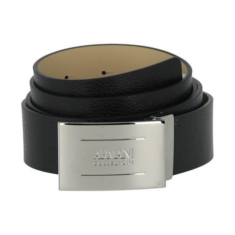 Armani Collezioni Coated Pebble Leather Plate Belt // Black
