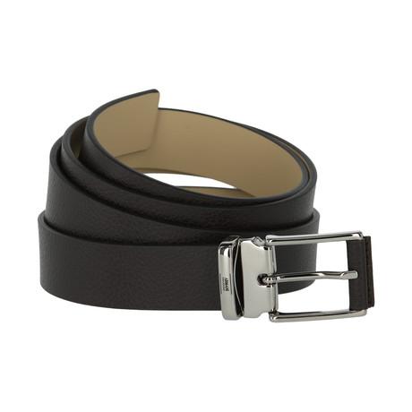 Armani Collezioni Pebble Leather Belt // Brown