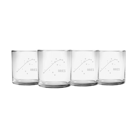 Astrology // Slim Rocks Glass // Set of 4 (Aquarius Constellation)