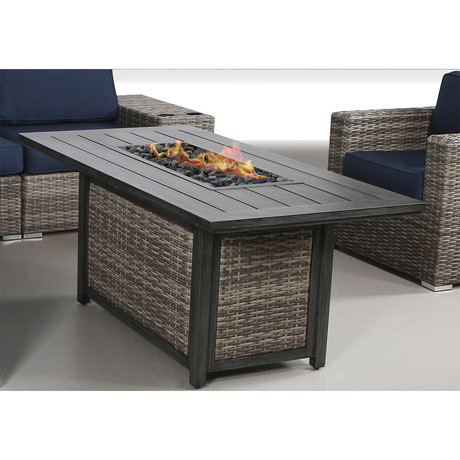 Sevilla Wood Grain Rectangle Fire Pit