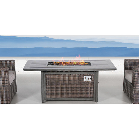 Marbella Wood Grain Rectangle Fire Pit