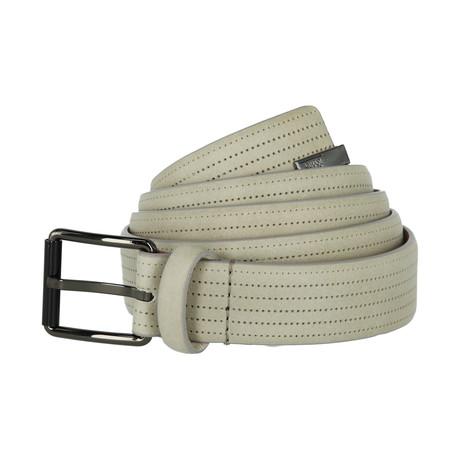 Armani Collezioni // Perforated Stripe Leather Belt // Grey (40)