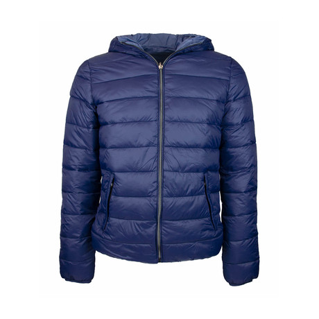 Reversible Hooded Puffer Jacket // Dark Blue + Dusty Blue (S)