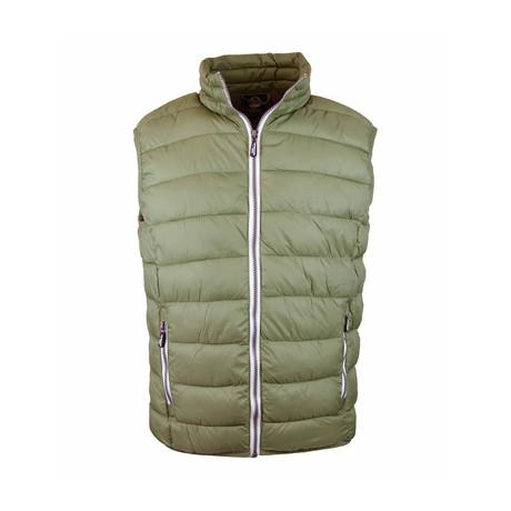 Contrast Zip Puffer Vest // Military (S)