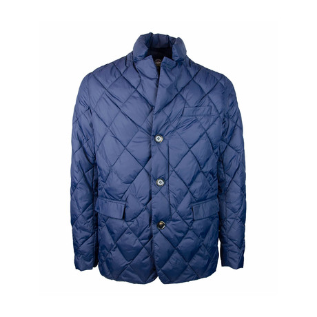Quilted Puffer Blazer // Blue (S)