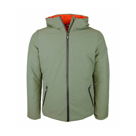 Weather-Resistant Hooded Padded Jacket // Military + Orange (S)