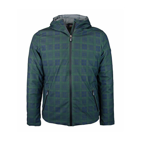 Grid Print Weather-Resistant Hooded Jacket // Green (S)