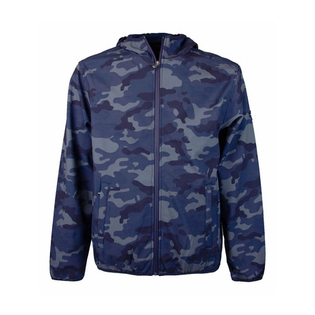 Camo Print Weather-Resistant Hooded Jacket // Blue (S)
