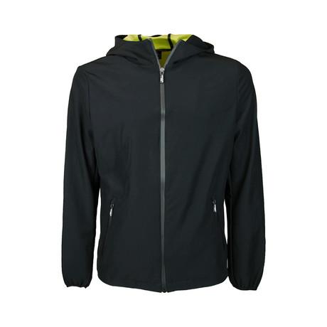 Zip Rain Hoodie // Black (S)