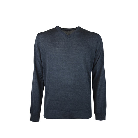 Elbow Patch V-Neck Wool Sweater // Dark Melange (S)
