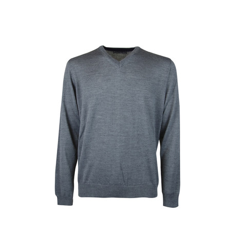 Elbow Patch V-Neck Wool Sweater // Grey Melange (S)