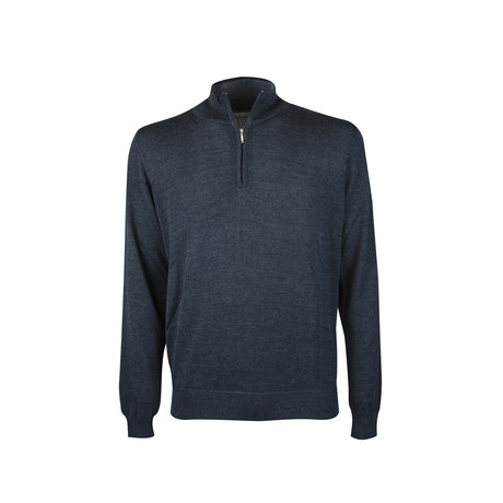Quarter Zip Elbow Patch Sweater // Dark Melange (S)