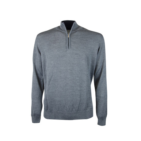 Quarter Zip Elbow Patch Sweater // Grey Melange (S)