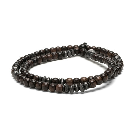 Brown Ebony Wood // Faceted Gunmetal (Small)