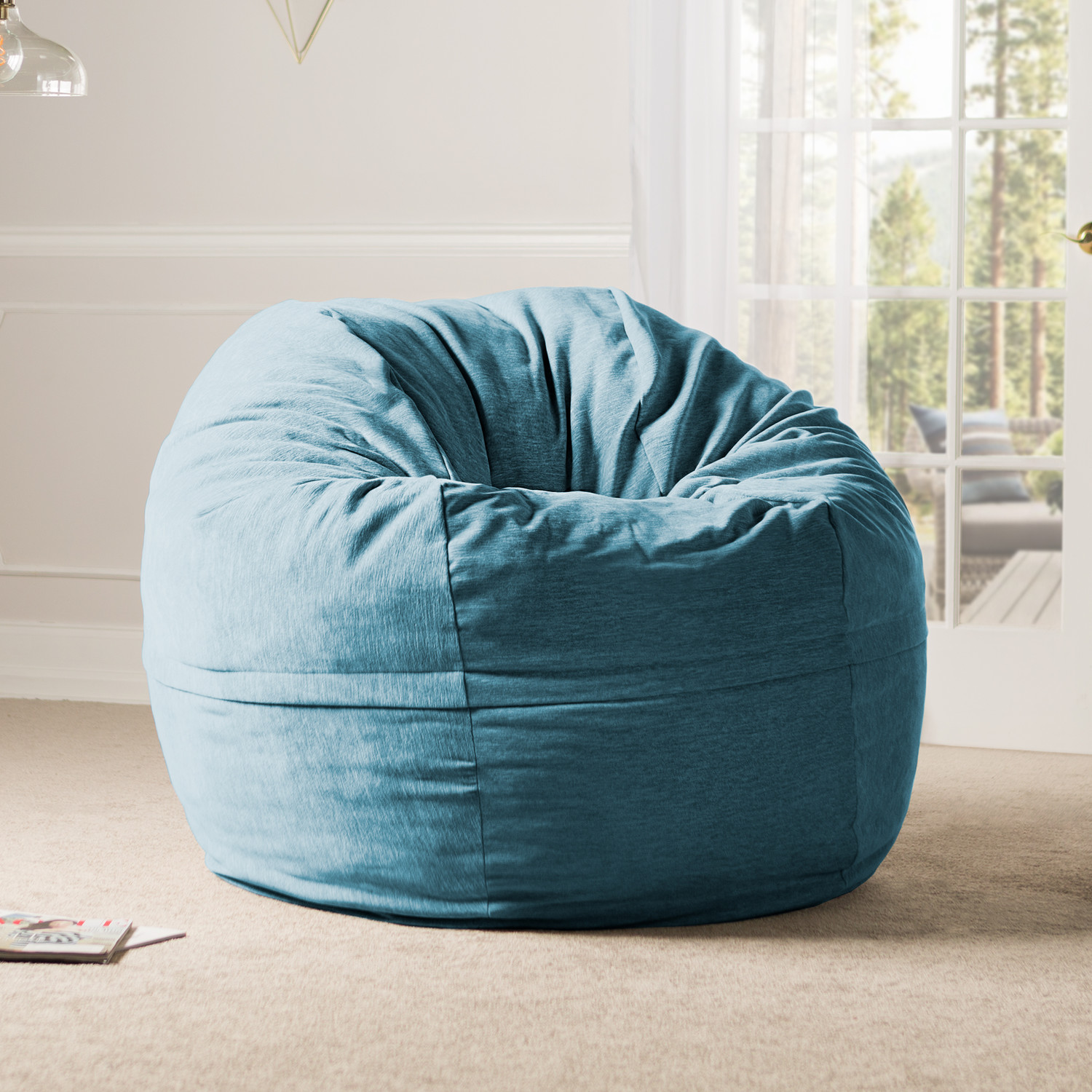 5 Giant Bean Bag Chair Chenille Cover Turquoise