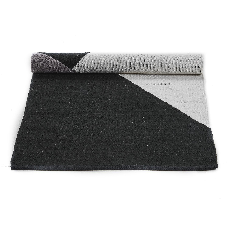Wool rug horizon black gray white 62 4 l x 93 6 w for Black and white wool rug