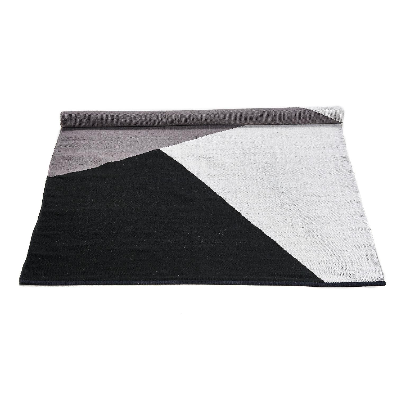 Wool rug horizon black gray white 31 2 l x 93 6 w for Black and white wool rug