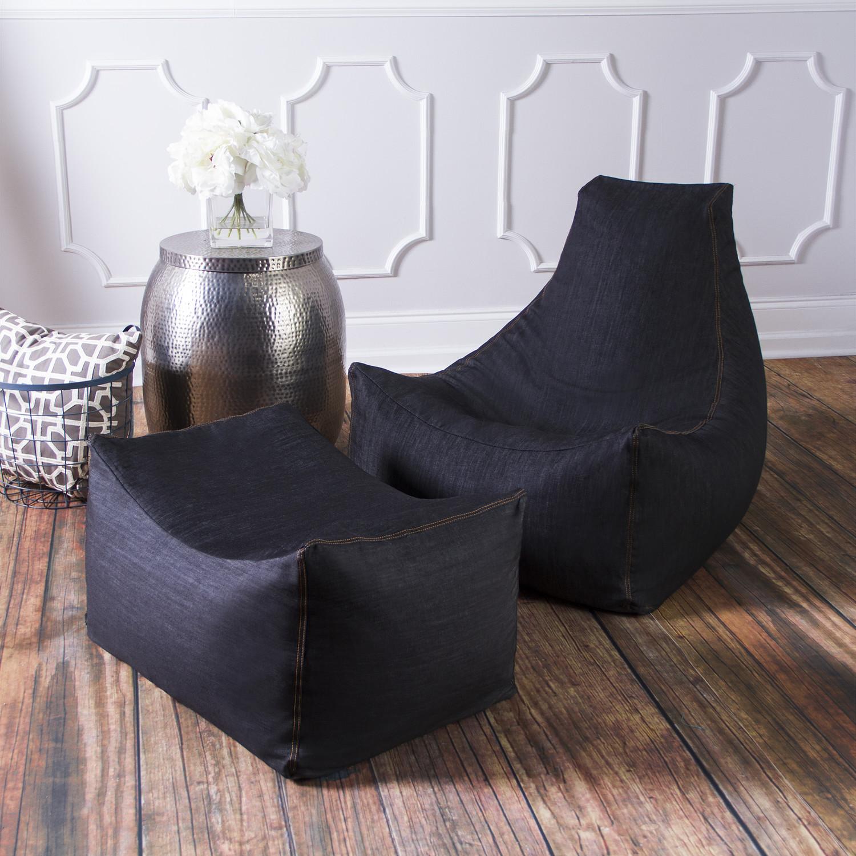 Denim Juniper Bean Bag Chair Ottoman Black