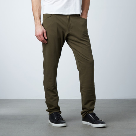 Knit 5 Pocket Pant // Army Green (28WX30L)