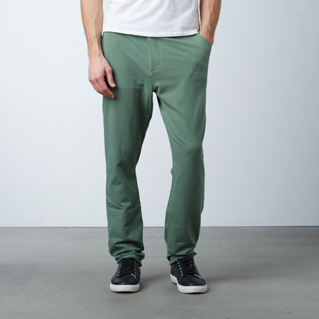 Knit Stretch Chino Pant // Deeper Moss Green (28WX30L)