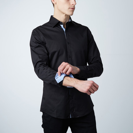 Monroe Dress Shirt // Black + Light Blue Pattern (S)