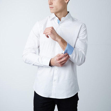 Austin Dress Shirt // White + Light Blue Gingham (S)