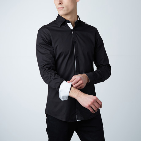 Wilson Dress Shirt // Black + White (S)