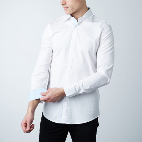 Dover Dress Shirt // White + Light Blue Oxford (S)