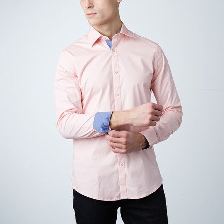 Monterey Dress Shirt // Salmon + Navy Chambray (S)