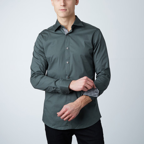 Carson Dress Shirt // Olive + Black Gingham Pattern (S)