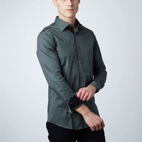Oak Dress Shirt // Olive + Black (S)