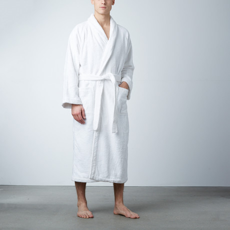 Bath Robe White Shawl Collar // Pure White (M)