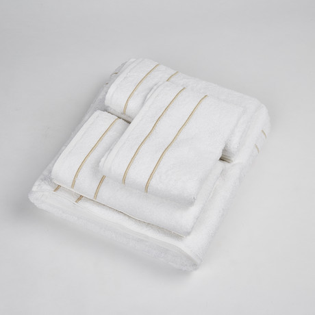White Terry Set W/ Piping // 5 Pieces (White + Beige)