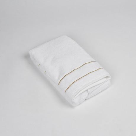 White Terry Bathmat W/ Piping (White + Grey)