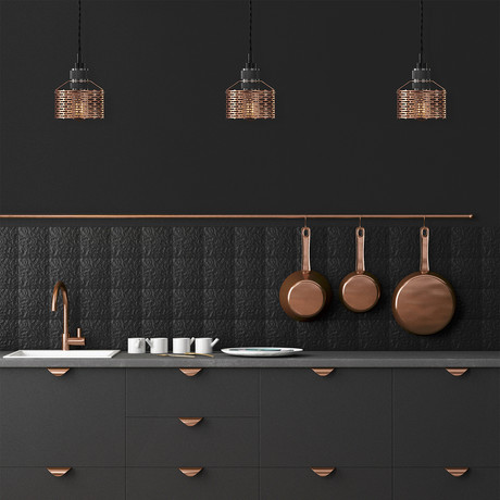 Halo Pekota Pendant // Copper + Black Chrome (1 Bulb)