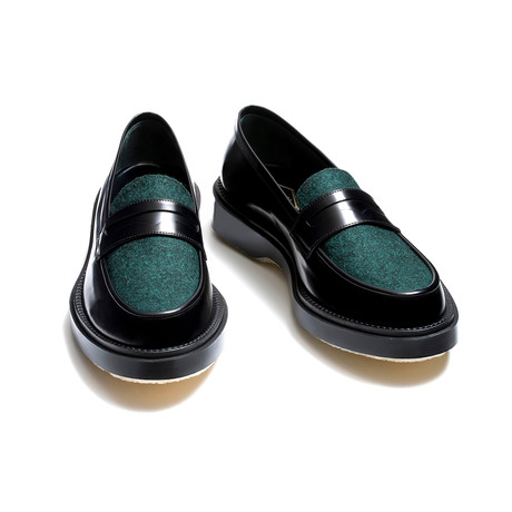 Leather Loafer and Felt // Green + Black (Euro: 39)