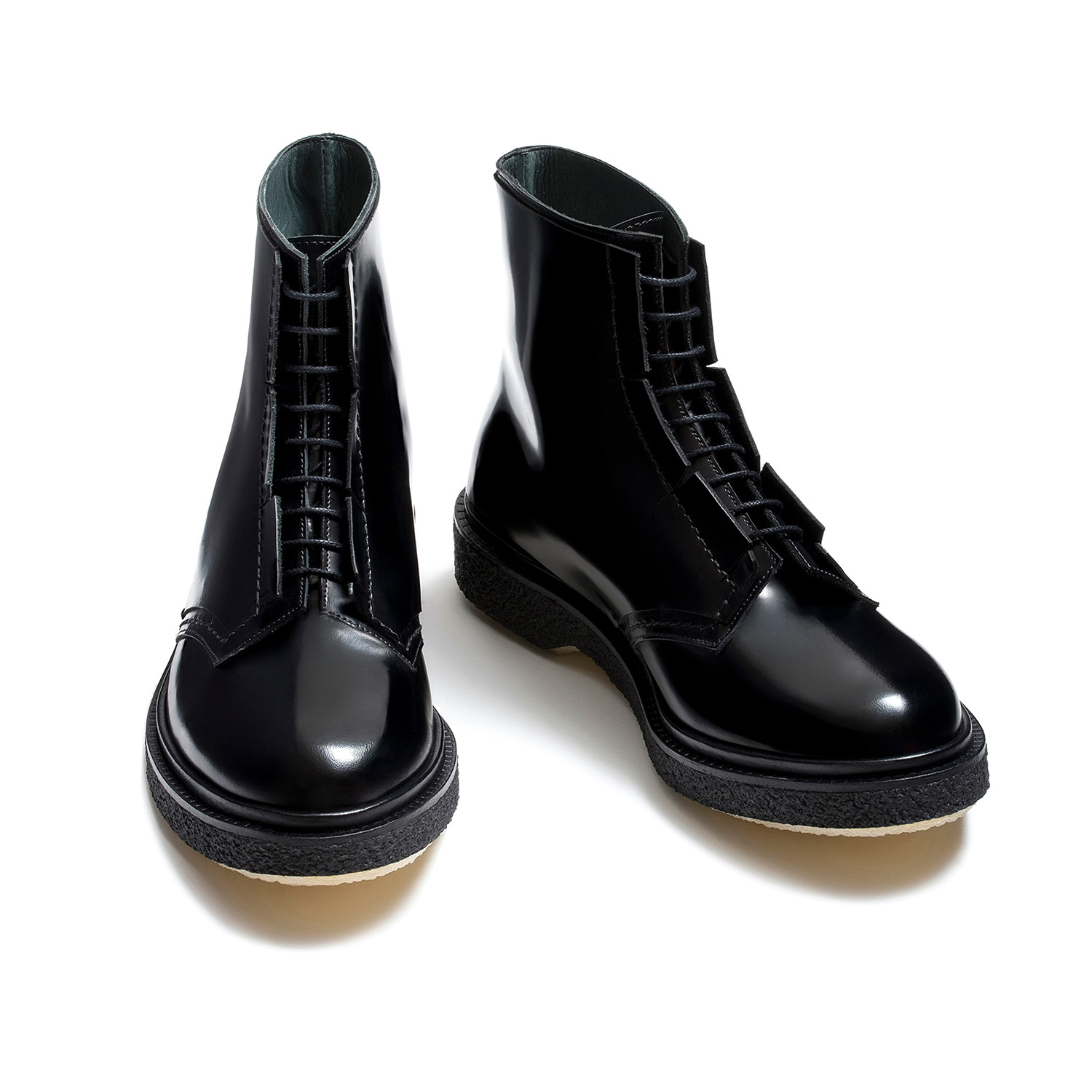 Shiny Lace-Up Tall Ankle Boot // Black