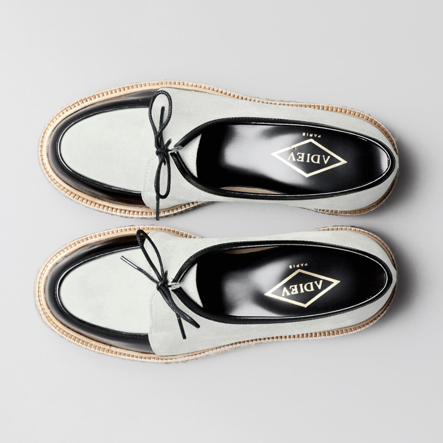 3ff6e81aa93 Lace-Up Leather Open Round Creepers    White + Black (Euro  45 ...