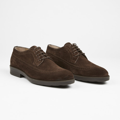 Suede Wingtip Lace Up // Brown Suede (US: 7)
