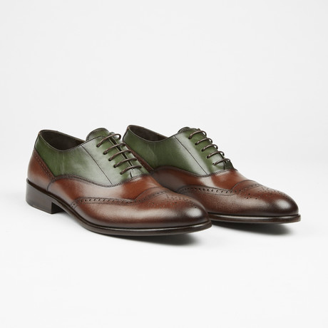 Wing Tip Lace Up // Brown + Green (US: 7)