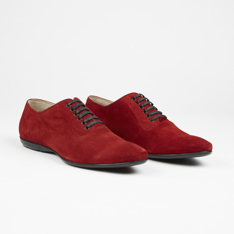 Suede Plain Toe Lace Up // Red (US: 7)