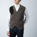 Loft 604 // Cesarani // Cashmere Blend Herringbone Waistcoat // Olive (S)