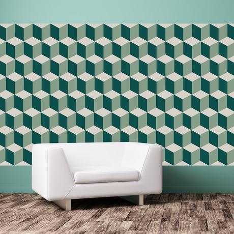 Green 3D Cubes Wall Mural // Set Of 12