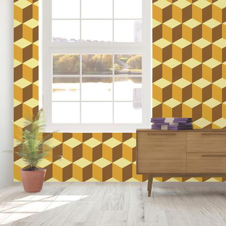 Yellow 3D Cubes Wall Mural // Set Of 12