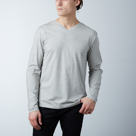 Helden Long Sleeve V-Neck // Heather Gray (S)